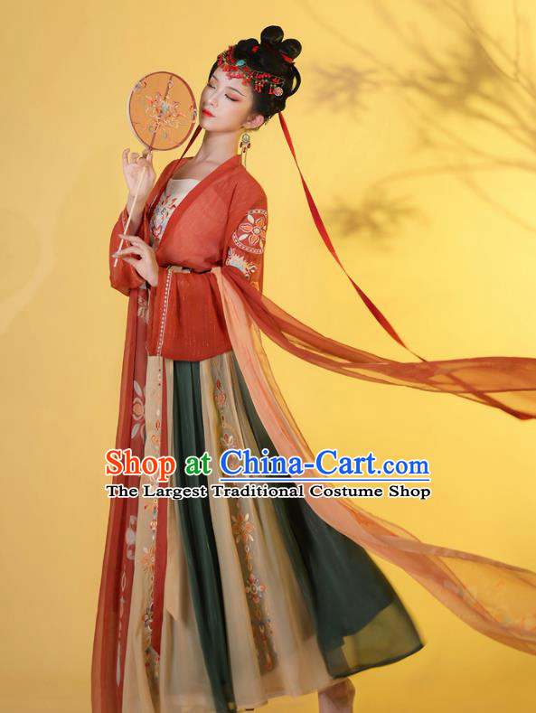 Traditional Chinese Tang Dynasty Princess Historical Costumes Ancient Noble Lady Hanfu Garment Embroidered Blouse Camisole and Skirt Full Set