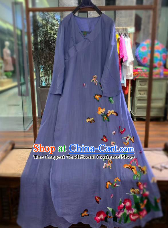 Chinese Embroidered Butterfly Long Qipao Dress National Violet Flax Cheongsam Traditional Clothing