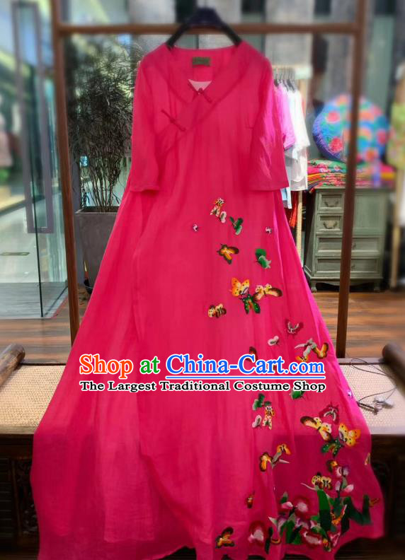 Chinese Traditional Embroidered Butterfly Long Qipao Dress National Rosy Flax Cheongsam Clothing