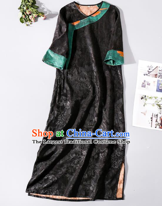 Asian Chinese Classical Jacquard Brocade Cheongsam Clothing Traditional Woman Black Silk Long Qipao Dress