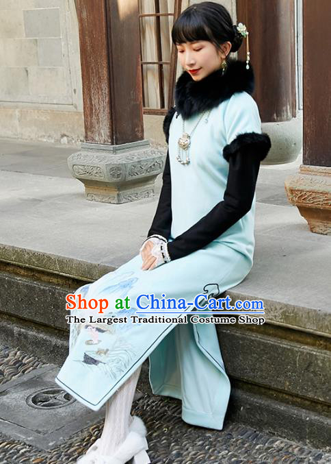 China Traditional Young Lady Light Blue Cheongsam National Winter Long Qipao Dress Clothing
