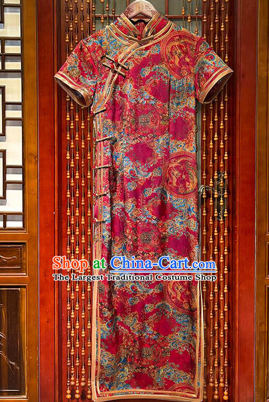 Chinese National Woman Clothing Traditional Printing Dragon Phoenix Rosy Cheongsam Stand Collar Qipao Dress Clothing