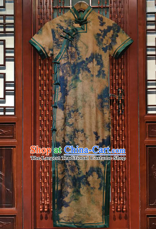 Chinese Traditional Silk Long Qipao Dress Clothing Classical Peony Pattern Khaki Brocade Cheongsam