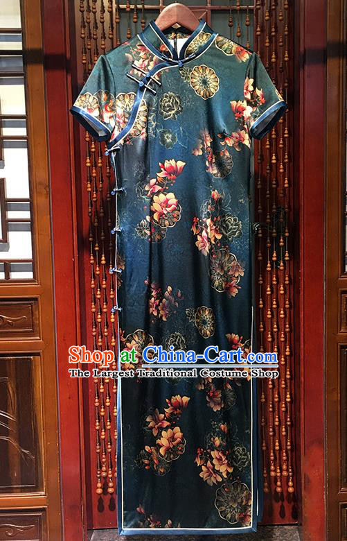 China Classical Dance Clothing Traditional Printing Mangnolia Cheongsam Stand Collar Atrovirens Qipao Dress