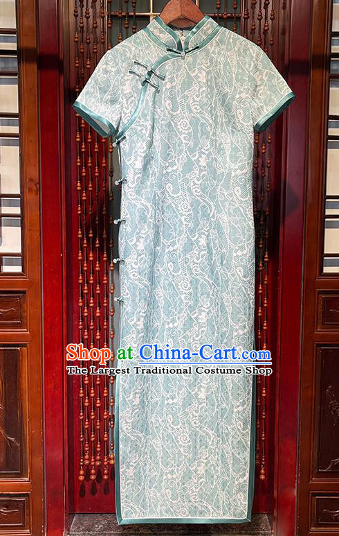 Chinese Traditional Short Cheongsam Stand Collar Qipao Dress National Young Lady Clothing