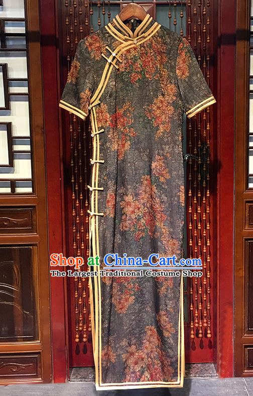 China Traditional Stand Collar Cheongsam National Printing Peach Blossom Grey Silk Qipao Dress