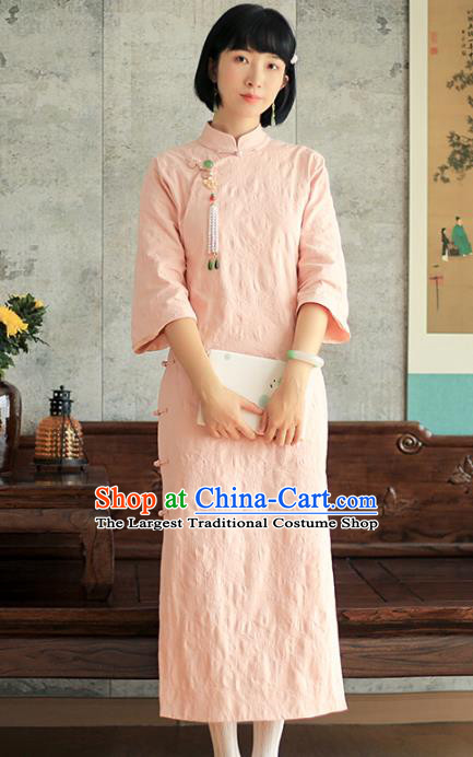 China National Young Lady Pink Qipao Dress Clothing Traditional Female Student Long Cheongsam