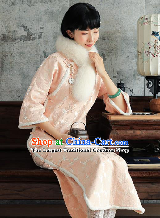 China National Young Beauty Qipao Dress Clothing Traditional Winter Pink Long Cheongsam