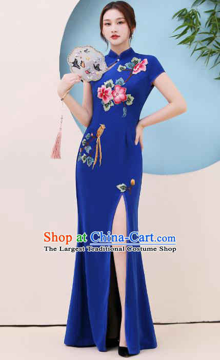 China Party Compere Clothing Modern Dance Qipao Dress Stage Show Embroidery Royalblue Cheongsam
