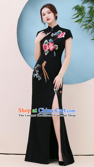 China Modern Dance Qipao Dress Stage Show Embroidery Black Cheongsam Party Compere Clothing