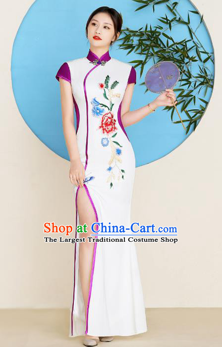 China Young Woman Clothing Stage Performance Embroidery Peony Cheongsam Catwalks Fishtail Qipao Dress