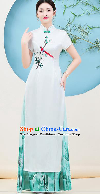 China Catwalks Printing Chiffon Qipao Dress Young Woman Clothing Stage Performance Embroidery Flower Bird Cheongsam