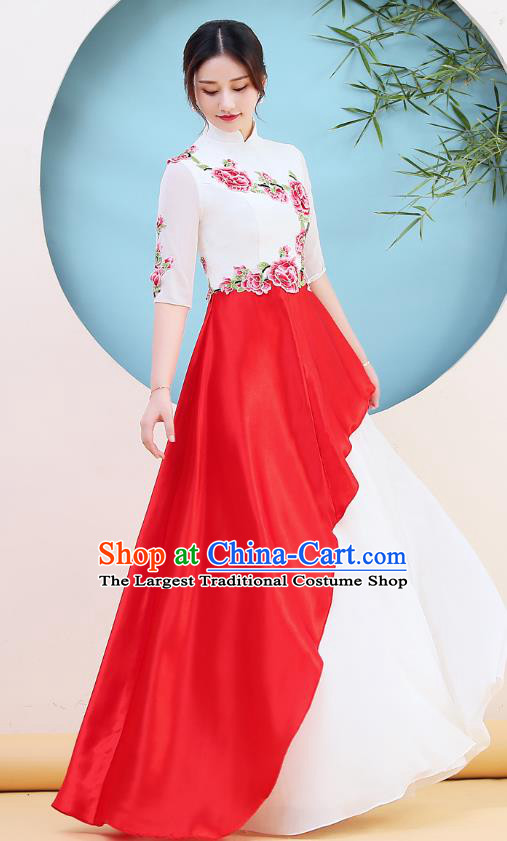 China Woman Chorus Clothing Stage Performance Embroidery Peony Cheongsam Catwalks Qipao Dress