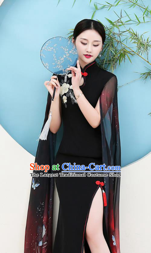 China Woman Water Sleeve Clothing Catwalks Embroidery Black Qipao Dress Stage Show Cheongsam