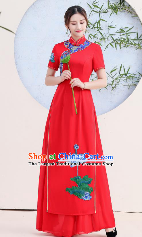 China Stage Show Clothing Woman Catwalks Qipao Dress Embroidery Lotus Red Cheongsam