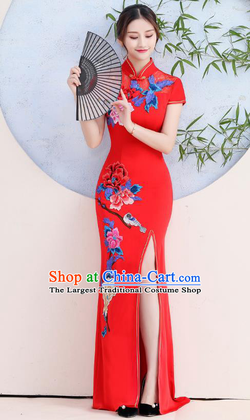 China Woman Wedding Red Satin Qipao Dress Catwalks Embroidery Peony Cheongsam Stage Show Clothing