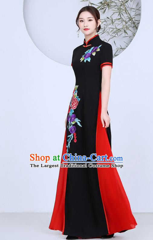 China Stage Performance Clothing Classical Dance Qipao Dress Catwalks Show Embroidery Peony Black Cheongsam
