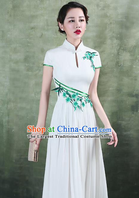 China Stage Performance Chorus Clothing Classical Embroidery White Qipao Dress Catwalks Show Cheongsam
