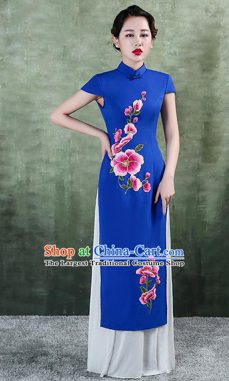 China Stage Performance Aodai Clothing Classical Embroidery Royalblue Satin Qipao Dress Catwalks Show Cheongsam