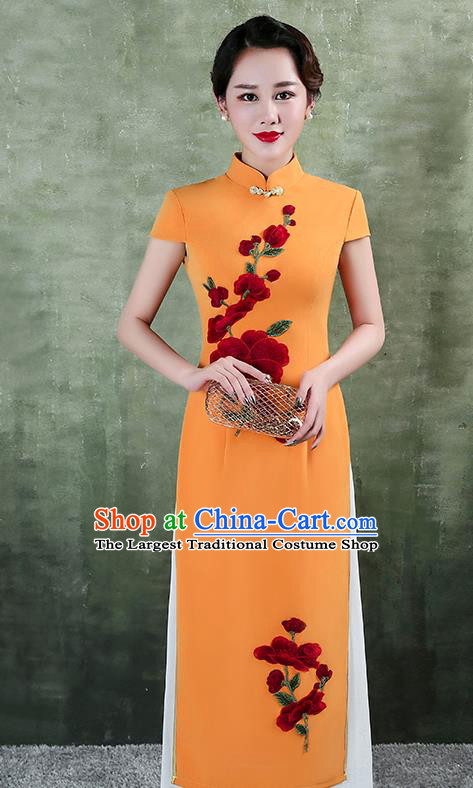 China Catwalks Show Aodai Cheongsam Stage Performance Clothing Classical Embroidery Orange Satin Qipao Dress