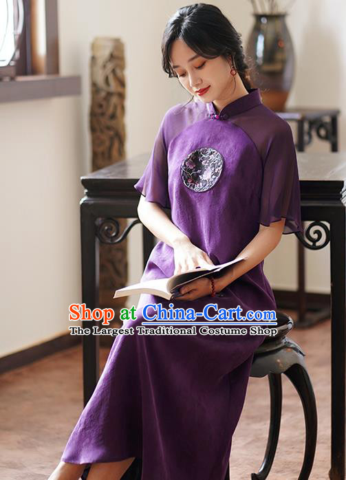 China Classical Embroidered Purple Silk Cheongsam Dress National Stand Collar Qipao Costume
