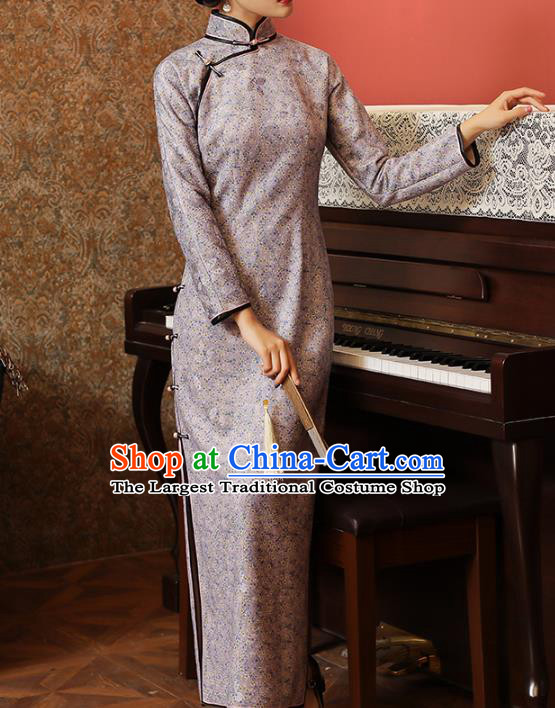 Chinese Classical Lilac Lace Qipao Dress National Tang Suit Costume Traditional Stand Collar Cheongsam