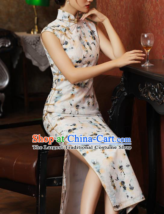 Chinese Classical Stand Collar Qipao Dress National Tang Suit Costume Traditional Ink Painting Lotus White Cheongsam