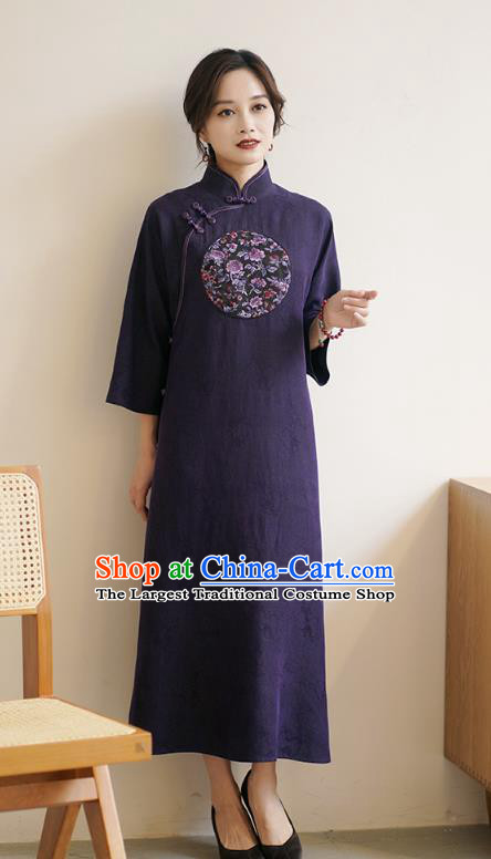 Top Purple Silk Long Cheongsam China Classical Embroidered Qipao Dress Clothing