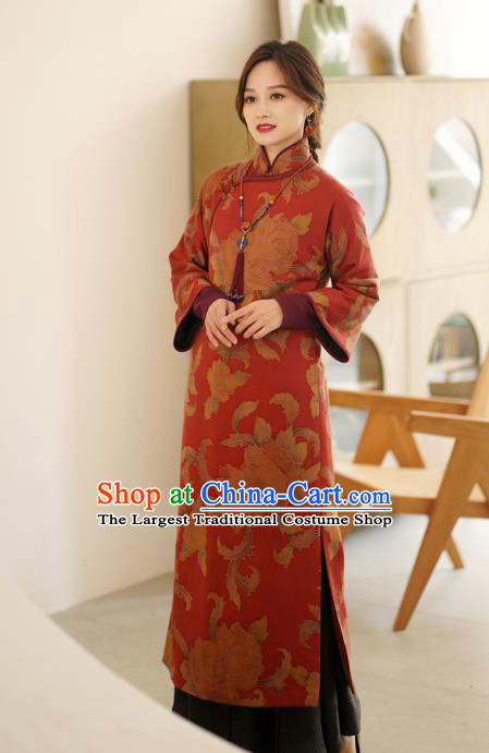 China Qipao Dress Female Red Gambiered Guangdong Gauze Long Cheongsam