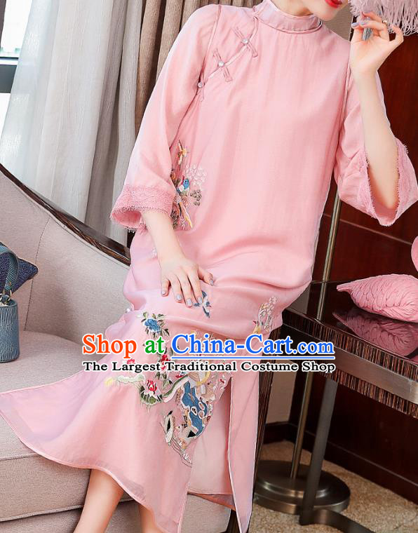 China Traditional Tang Suit Round Collar Qipao Dress Classical Embroidered Pink Tencel Cheongsam