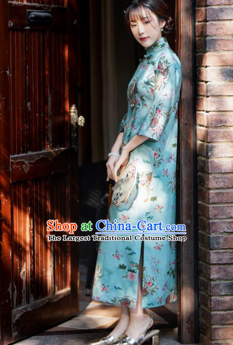 China Classical Green Qipao Dress National Retro Clothing Traditional Printing Flowers Cheongsam