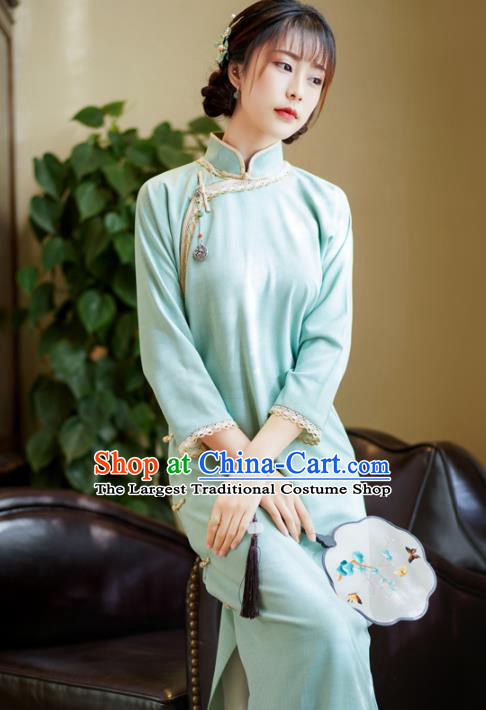 China Classical Slant Opening Qipao Dress National Retro Clothing Traditional Light Blue Cheongsam
