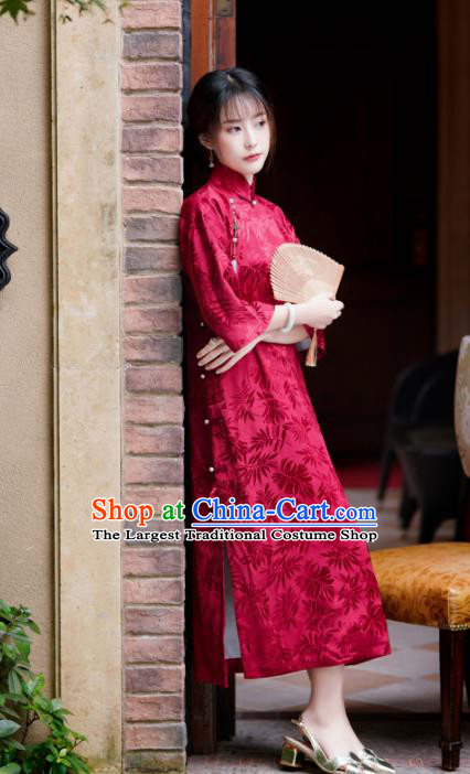 China Red Silk Cheongsam Traditional Stand Collar Qipao Dress Classical Wedding Clothing
