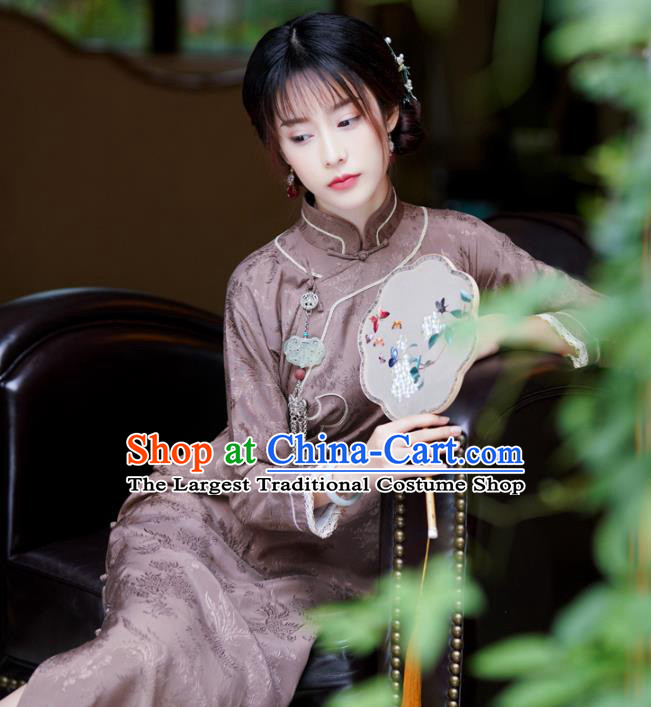 Republic of China Traditional Stand Collar Qipao Dress Classical Clothing Brown Silk Cheongsam