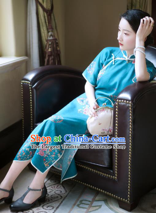 China Classical Stand Collar Cheongsam Clothing Traditional Printing Flowers Blue Flax Qipao Dress
