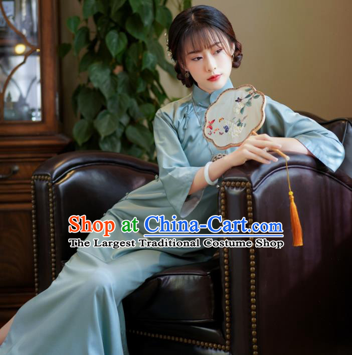 China Traditional Young Lady Cheongsam Classical Light Blue Qipao Dress National Retro Clothing