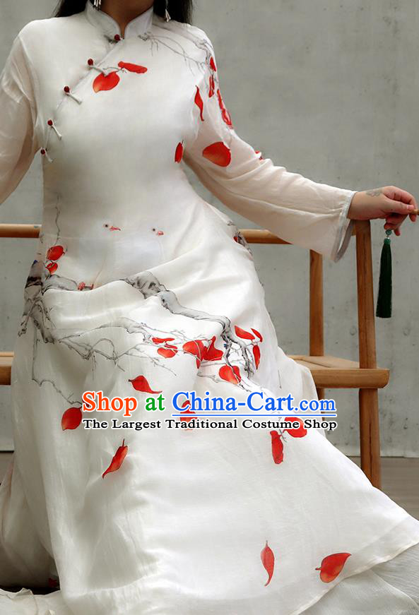 Chinese Traditional Stand Collar White Qipao Dress Woman Costume National Printing Red Leaf Cheongsam