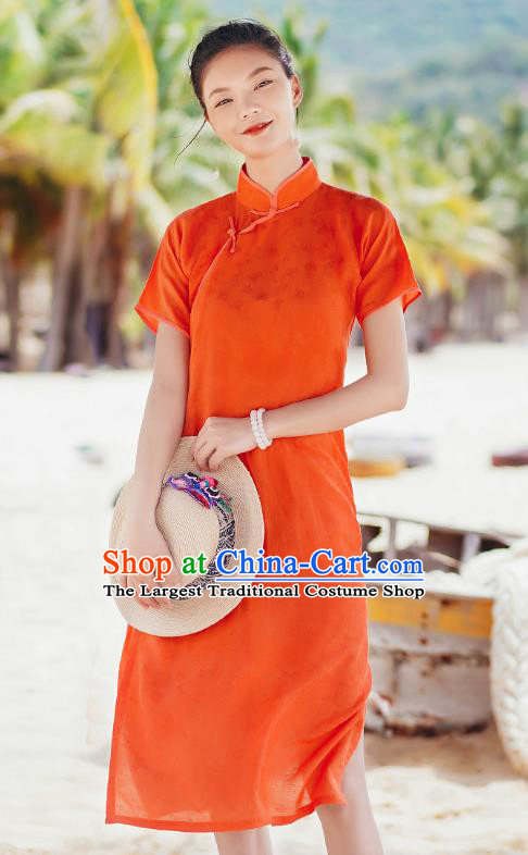 Chinese Traditional Young Lady Orange Qipao Dress National Stand Collar Cheongsam Costume
