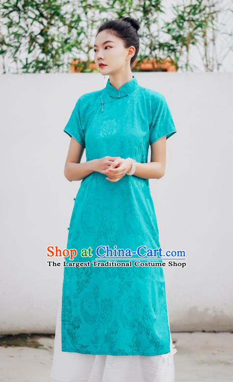 Chinese National Stand Collar Cheongsam Costume Traditional Young Lady Green Qipao Dress