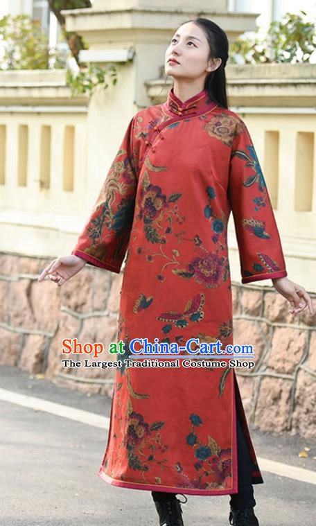 Chinese Traditional Printing Red Qipao Dress Costume National Young Lady Cotton Wadded Cheongsam