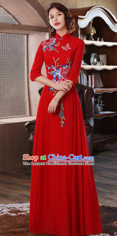 Chinese Stage Show Embroidery Peony Red Qipao Dress Catwalks Costume Classical Dance Cheongsam