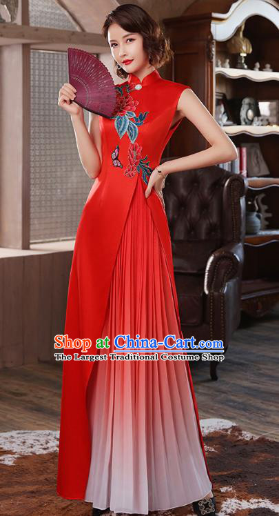 Chinese Classical Dance Cheongsam Stage Show Embroidery Peony Red Satin Qipao Dress Catwalks Costume