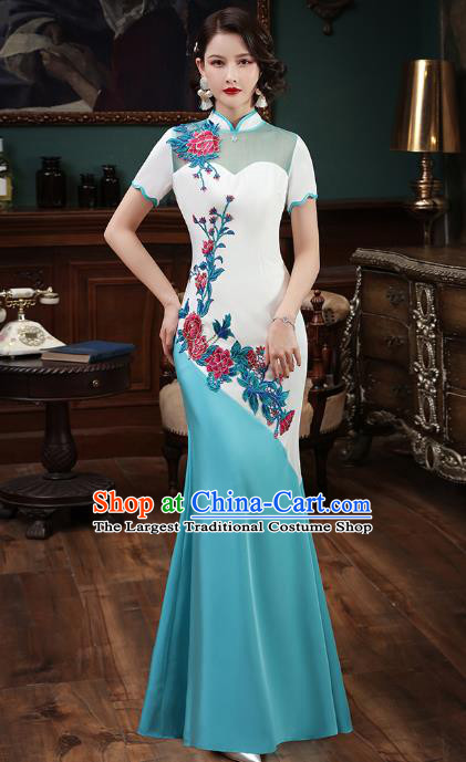 Chinese Embroidery Blue Fishtail Cheongsam Catwalks Modern Dance Costume Stage Show Qipao Dress