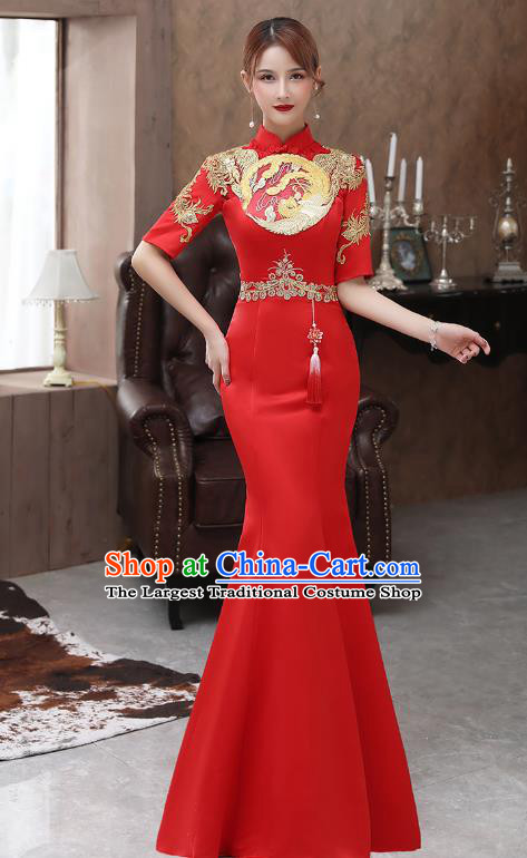 Chinese Stage Show Red Fishtail Qipao Dress Embroidery Phoenix Cheongsam Catwalks Modern Dance Costume