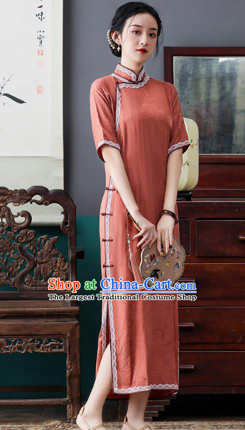 Republic of China National Orange Cheongsam Traditional Shanghai Young Lady Lace Collar Qipao Dress