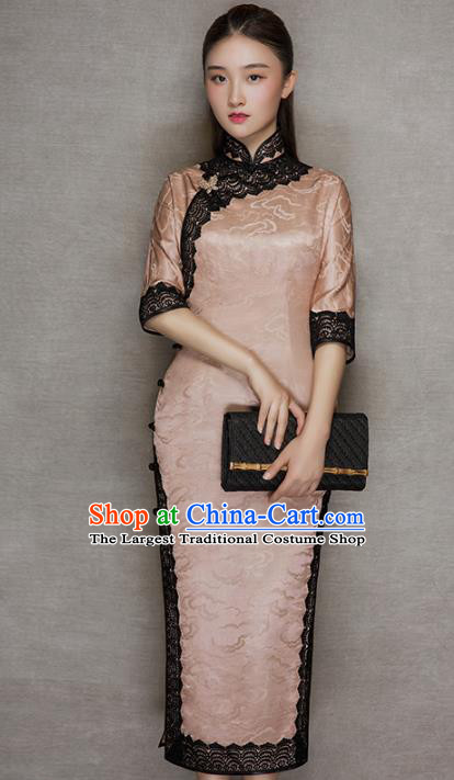 China Traditional Lace Stand Collar Qipao Dress Classical Cloud Pattern Pink Silk Cheongsam