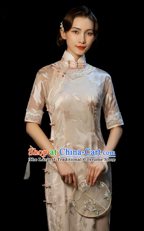 China Traditional Minguo Stand Collar Qipao Dress Classical Old Shanghai Light Pink Cheongsam