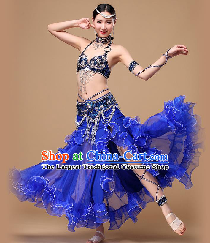 Asian Oriental Dance Costumes Indian Performance Beads Tassel Bra and Skirt Traditional Belly Dance Royalblue Uniforms
